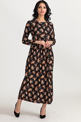 Desenli Robalı Elbise-5002941540