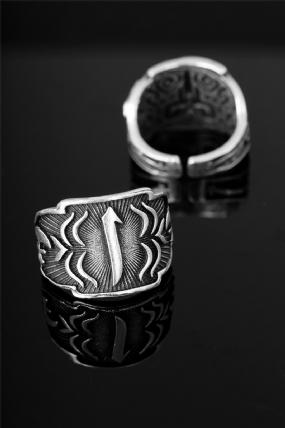 Çelik Arapça Elif Harfli  Ayarlamalı Erkek Yüzük-EY114