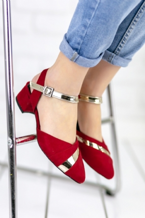 Placida Kırmızı Süet Topuklu Ayakkabı-48687