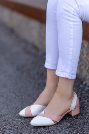 Nadia Beyaz Cilt Pudra Detaylı Topuklu Ayakkabı-48714