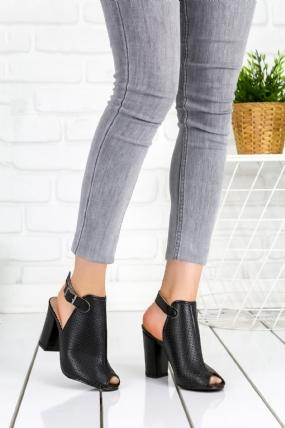 Alvise Siyah Cilt Fileli Topuklu Bayan Ayakkabı