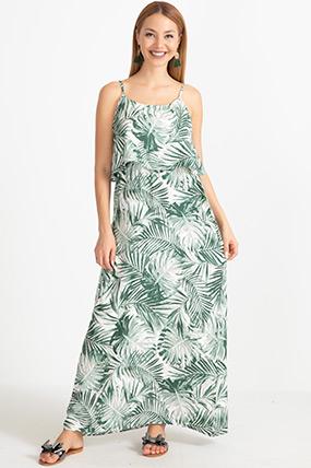 Desenli İp Askılı Elbise