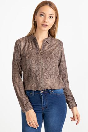 Desenli Fermuarlı Ceket