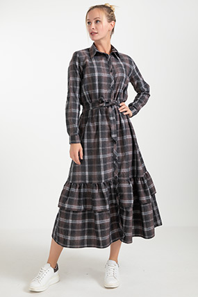 Ekose Kuşaklı Elbise-41034951252
