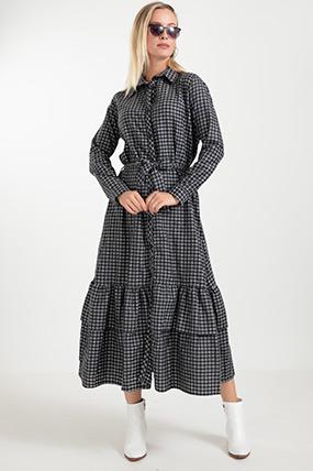 Çizgili Kuşaklı Elbise-41034951265