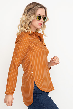Çizgili Sahte Cep Gömlek