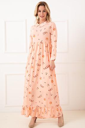 Çiçekli Pileli Elbise