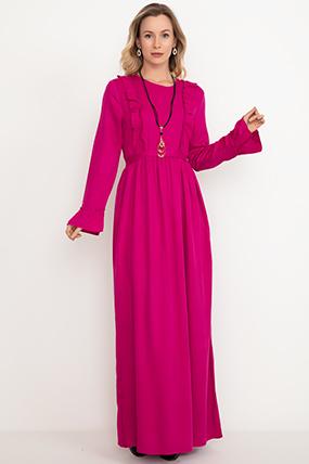 Ön Büzgülü Biyeli elbise-5001041560