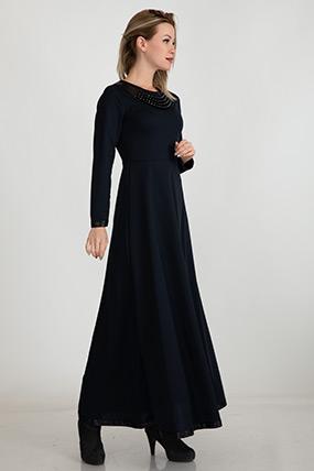 Kolyeli Uzun Elbise-5004341537