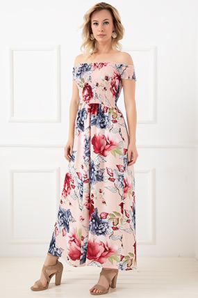Çiçekli Kayık Yaka Elbise