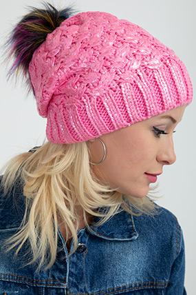 Varaklı Örme Şapka-5012242541