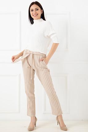 Çizgili Keten Pantolon