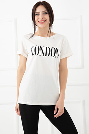 London Baskılı T-Shirt-5593243089
