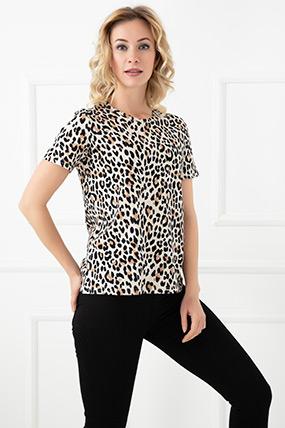 Leopar Desenli T-Shirt-5593443101