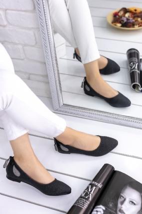 Vitale Siyah Cilt Desenli Babet Ayakkabı-65690