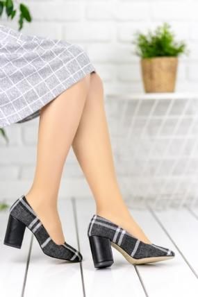 Lugia Gri Ekoseli Topuklu Ayakkabı-48199