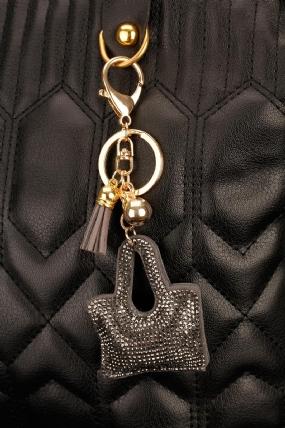 Siyah Parlak Taşlı Çanta Figürlü Anahtarlık-AN130