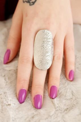Silver Renk Metal Elips Bayan Yüzük