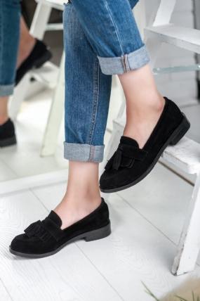 Bambina Siyah Süet Bayan Oxford Ayakkabı
