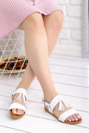 Adelinay Beyaz Cilt Sandalet