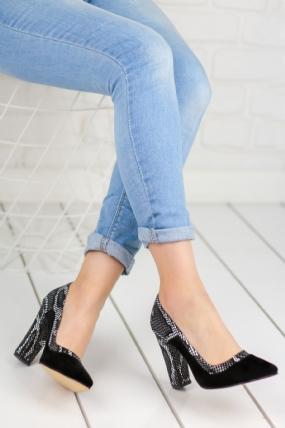 Donella Siyah Süet Siyah Yılan Desenli Topuklu Bayan Ayakkabı