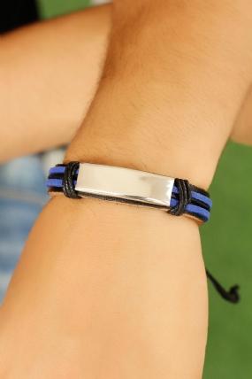 Mavi Siyah Renk Deri ve Çelik Aksesuar Detaylı Erkek Bileklik-EB1020