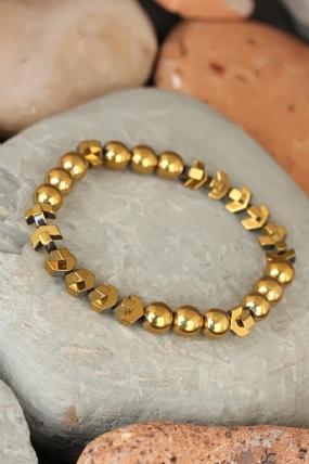 Gold Renk Hematit Doğal Taşlı Erkek Bileklik