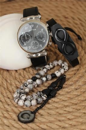 Erkek Saat Bileklik ve Doğal Taş Tesbih Kombini-EK1035-KS