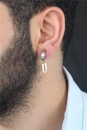 Silver Renk Kaplama Jilet Figürlü Çelik Kıstırmalı Erkek Küpe-EKP128