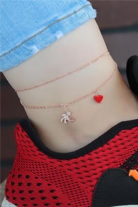 Zirkon Taşlı Rose Renk Kırmızı Kalpli Hal Hal-HH1006-KS