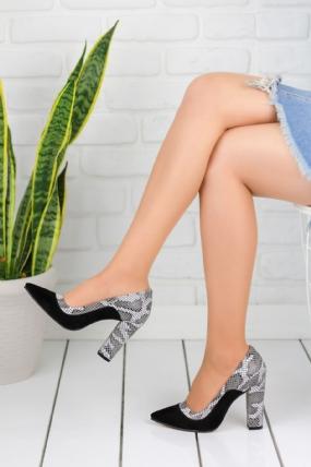 Donella Siyah Süet Gri Yılan Desenli Topuklu Bayan Ayakkabı