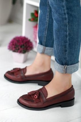 Bambina Bordo Cilt Bayan Oxford Ayakkabı