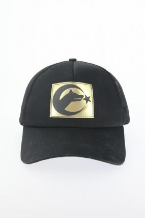 Siyah Renk Bozkurt Tasarımlı Şapka