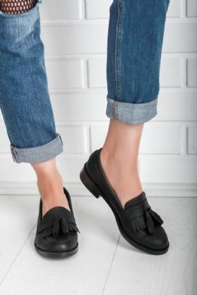Bambina Siyah Cilt Desenli Bayan Oxford Ayakkabı