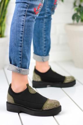 Natalia Siyah Haki Yeşil Detaylı Bayan Oxford Ayakkabı