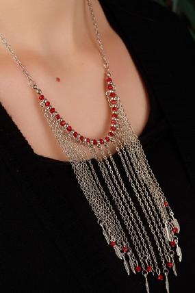 Gümüş Kaplama Zincirli Kırmızı Detaylı Uzun Zincir Püskül Tasarımlı Bayan Kolye