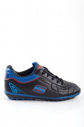 Simano Siyah Cilt Lacivert Detaylı Çocuk Spor Ayakkabı