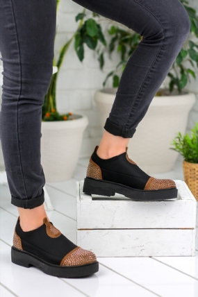 Natalia Siyah Taba Detaylı Bayan Oxford Ayakkabı