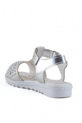 Ovra Gümüş Cilt Taşlı Çocuk Sandalet