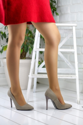 Celesse Açık Vizon Süet Bayan Stiletto Ayakkabı