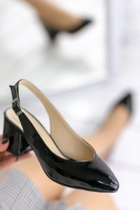 Duilio Siyah Rugan Topuklu Ayakkabı