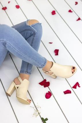 Velia Krem Cilt Topuklu Ayakkabı-48686