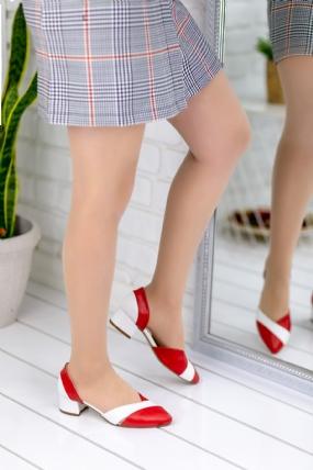 Nadia Kırmızı Cilt Beyaz Detaylı Topuklu Ayakkabı-48671