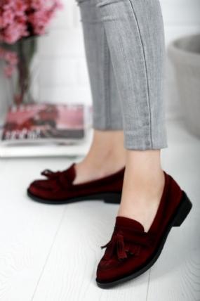 Bambina Bordo Süet Bayan Oxford Ayakkabı
