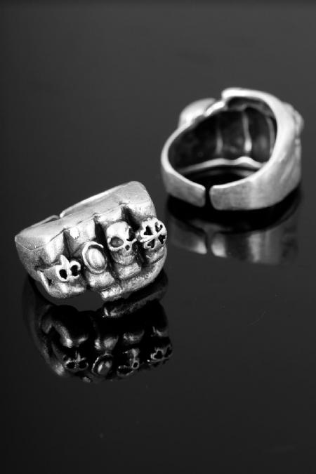 Çelik Kuru Kafa Figür Ayarlamalı Erkek Yüzük-EY109