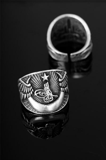Çelik Osmanlı Tuğra Figürlü Ayarlamalı Erkek Yüzük-EY115
