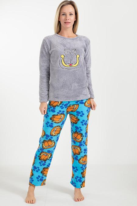 Kedi Baskılı Polar Pijama Takımı-41034975525