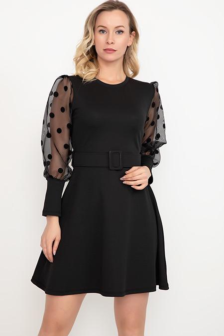 Kol Ponponlu Elbise-41034997172