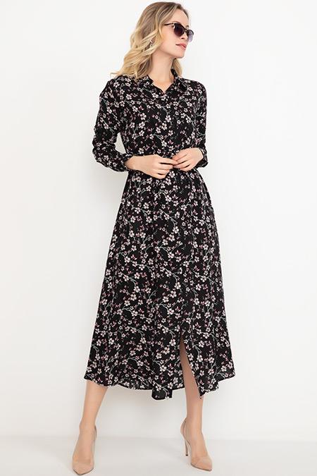 Gömlek Yaka Çiçekli Elbise-41034998862