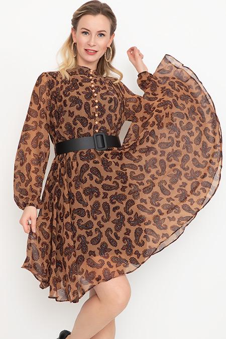 Düğmeli Kemerli Şifon Elbise-41034999116